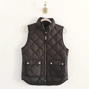 J.Crew Black Quilted Excursion Puffer Vest